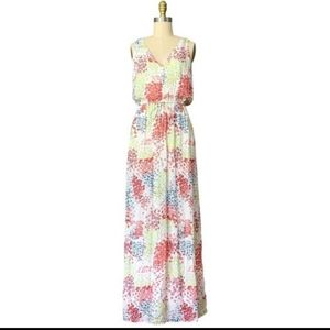 Lucky Brand floral hydrangea maxi dress size large